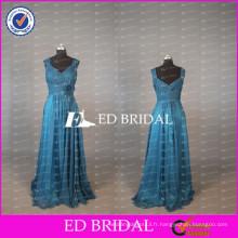 2017 ED Robe de mariée chic nuptiale longue manche en mousseline de soie bleu royal de la robe de mariée avec ceinture de fleur
