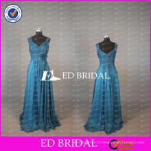 2017 ED Bridal Elegant Cap Sleeve Long Royal Blue Chiffon Mother Of The Bride Dress With Flower Sash
