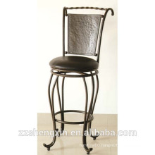 Black KD Style Metal Bar Chair, Swivel Backrest Bar Chair with Cushion