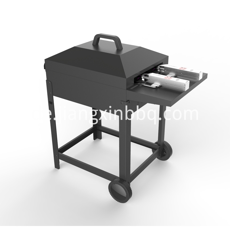 Trolley Charcoal Bbq With Side Shelf With Auto Skewer Side View