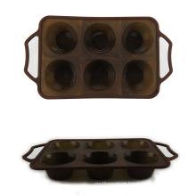 6 moldes do bolo do silicone da cavidade
