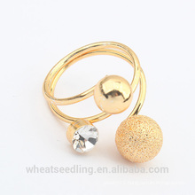 fashion gold plated ball crystal ring