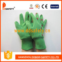 Green Cotton Garden Gloves with Printing Coccinella Back Dgb214