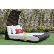 Exclusivo diseño impresionante sofá sintético rattan doble o cama solar para el jardín al aire libre patio piscina piscina de mimbre muebles