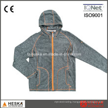 Ladies Casual Knitting Melange Fleece Jacket