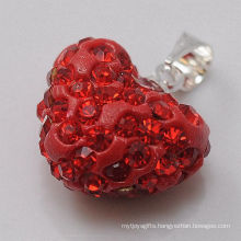 Christmas Gift Shamballa Pendant Wholesale Heart Shape New Arrival 15MM Red Crystal Clay Pendant For DIY Jewelry