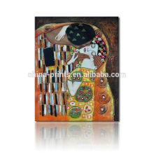 Der Kuss Reproduktive Ölgemälde / Leinwand Kunst von Gustav Klimt / Berühmte Malerei Druck