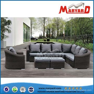 Cómodo conjunto de sofá de diseño de jardín de ratán