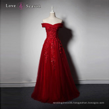 LSQ005 off shoulder appliques beads elegant luxury women dresses long red evening dress