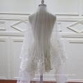 Бисером кружевные двух слоев вуаль венчания