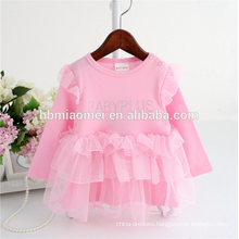 China factory supply pink color long sleeve Hot drilling infant princess dress soft cotton lace romper with cheap price