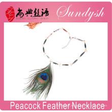 Collar de pluma de pavo real Collar de piedra de pavo real natural de Agast hecho a mano