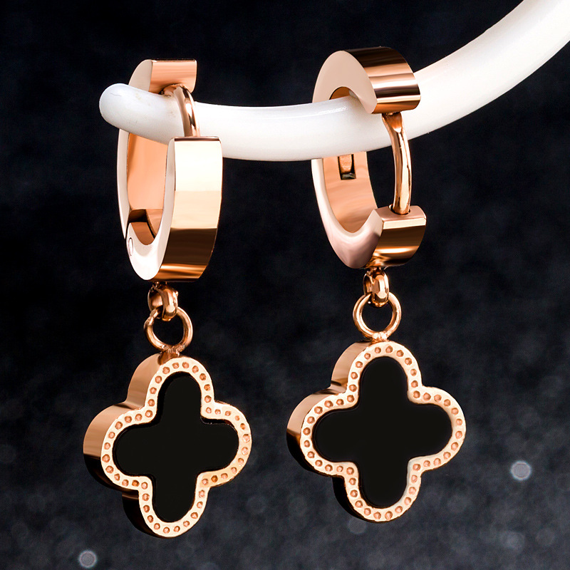 Four Leaf Clover Stud Screw Earrings