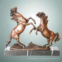 Escultura De Bronce De Los Animales De Los Caballos Dobles Tallando La Estatua De Latón De Deco Tpal-255