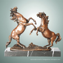 Animal Bronze Sculpture Double Horses Carving Deco Brass Statue Tpal-255