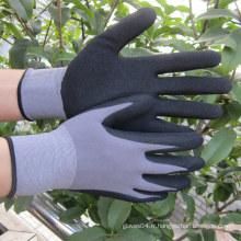 Gant de nitrile de 15 jauges Sandy trempé sur un gant de travail en nylon