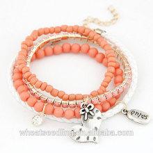 Fashion Beaded Bracelet Leather bracelet Inlayed mala beads wholesales charm bracelet with Shining Beads Heart Shape