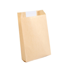 Bread Baking Food Bag Kraft Paper Square Bottom Packaging Bag Customized with Window