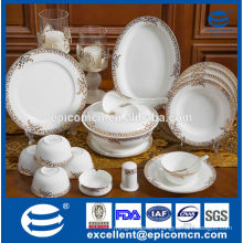 86pcs luxury gold pattern new bone china tableware with soup tureen