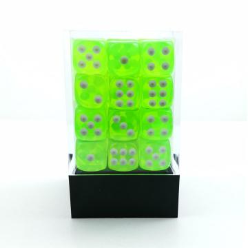 Bescon 12mm 6 Sided Dice 36 in Brick Box, 12mm Sechs Sided Die (36) Block of Dice, Translucent Lime Green mit weißen Pips