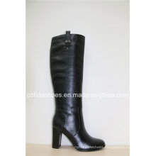 Fashion High Heels Leather Winter Women′s Boots