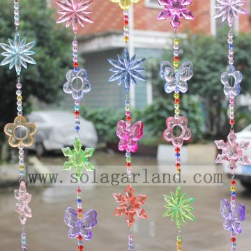 Colorful Flower Butterfly Acrylic Crystal Beads Curtain