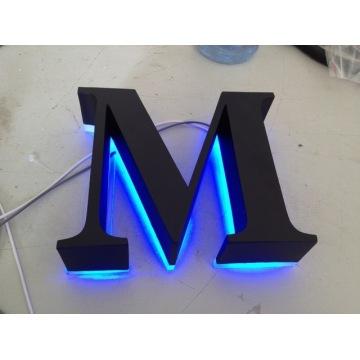 Letras polido escovado Vintage Metal Backlit sinalização LED 3D iluminado canal letras sinais para publicidade personalizada