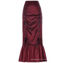 Belle Poque Women's Vintage Retro Gothic Victorian Style N/T taffeta Ruched Long Wine Skirt BP000208-2