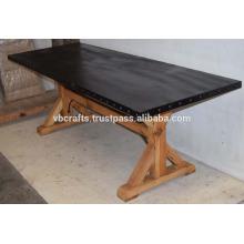 Industrial Metal Rivet Top Wooden Base Dining Table