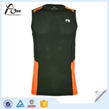 Mesh Orange Black Men Gym Vest Démaquillant rapidement