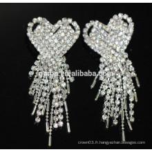 Promotion Boucles d'oreilles élégantes nuptiales Boucles d'oreilles en cristal pendentif en argent