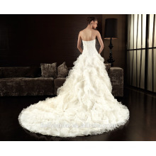 ZM16033 Fashion Corset Wedding Dresses Ivory White Robe de Mariee Organza Beaded Ruffled Hard Work Bridal Gown