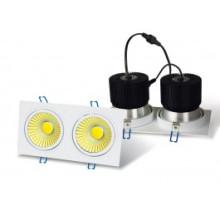 LED-Einbauleuchte - 2 x 20W COB - quadratisches Gehäuse