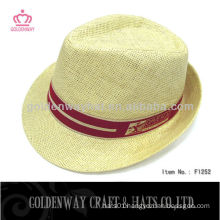 white promotional paper straw fedora hat and cap with custom design printing logo