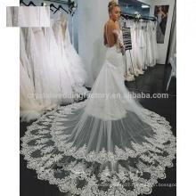High Quality New Fashion Custom Size Cathedral Train Lace Mermaid Ivory Long Sleeve Wedding Dresses MW968