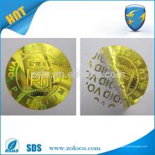 Anti-contrafacção de ouro / prata holograma vazio adesivo
