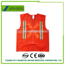 chaleco de seguridad reflectante con cremallera y cinta reflectante de malla naranja adulto