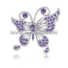 Vente en gros de bijoux strass en Chine à la mode accessoires pour femmes broche en rhodiné papillon