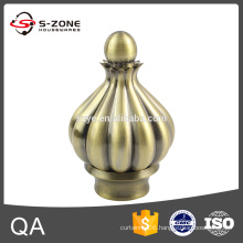 Decorative curtain finials for metal rods