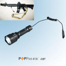 C8t 500lumens recarregável Xml T6 LED tático lanterna, com Rat Tail Switch