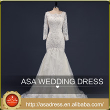 ASA-13 Real Design Hand Made Lace Applqiued Vestidos de noiva 2015 Tulle Long Sleeve Full Length Beaded Lace Up Women Wedding Dress