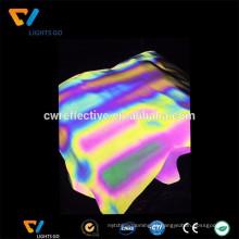 tecido de material reflexivo de cor de arco-íris de desenvolvimento recente