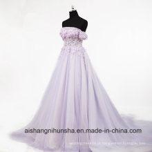 Mulheres Lace Straps Desossa Bodice Beading Evening Party Prom Dress