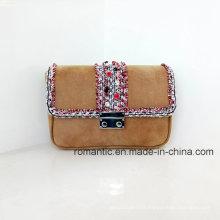 China Supplier Lady PU Leather Mini Webbing Handbags (NMDK-01427)