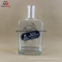 750 мл прямоугольная стеклянная бутылка с тиснением логотипа и трафаретной печати этикетки украшения