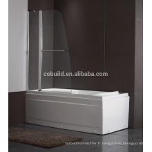K-539 écran de douche de baignoire simple moderne en acier inoxydable 304 avec certificat CE
