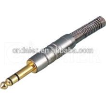 Daier Metal Chapado en oro Plug 6.35MM Jack estéreo