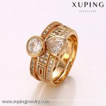 12363- Xuping 18K anillos de joyería Artificial plateados anillos de moda conjunto