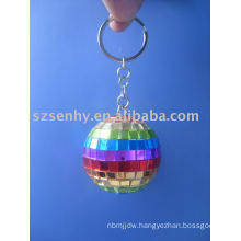 Rainbow disco ball keyring