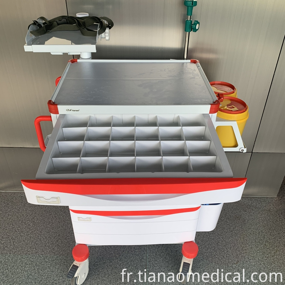 Hospital ABS Steel Emergency Trolley